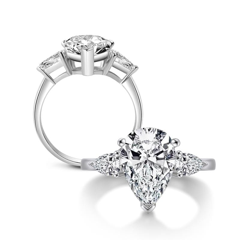 5 CT. Pear-Shaped Diamond Three Stone Engagement Ring in Sterling Silver