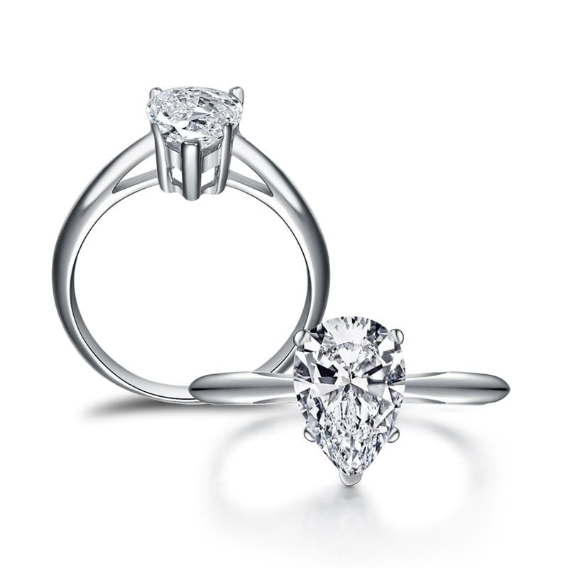 2.0 CT. Diamond Pear-Cut Solitaire Engagement Ring in Sterling Silver ALLBIZIA