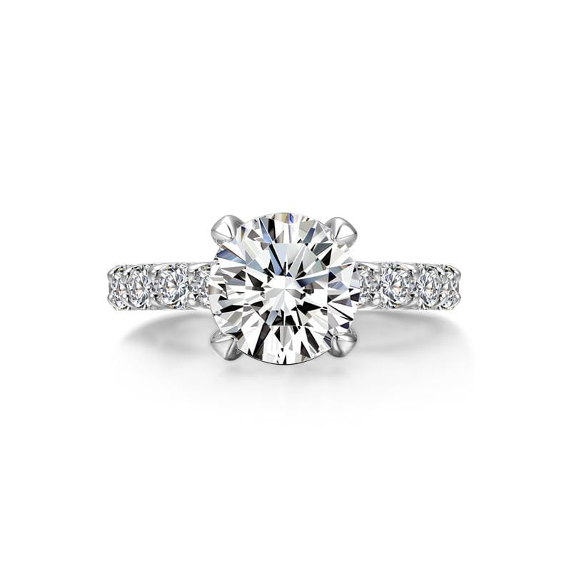 3.0 CT Round-Cut Diamond Solitaire With Side Accents Engagement Ring in Sterling Silver ALLBIZIA