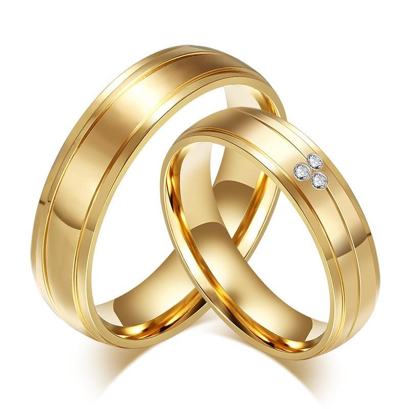 Yellow Gold Plated Stainless Steel with Gemstones Promise Rings for Couples