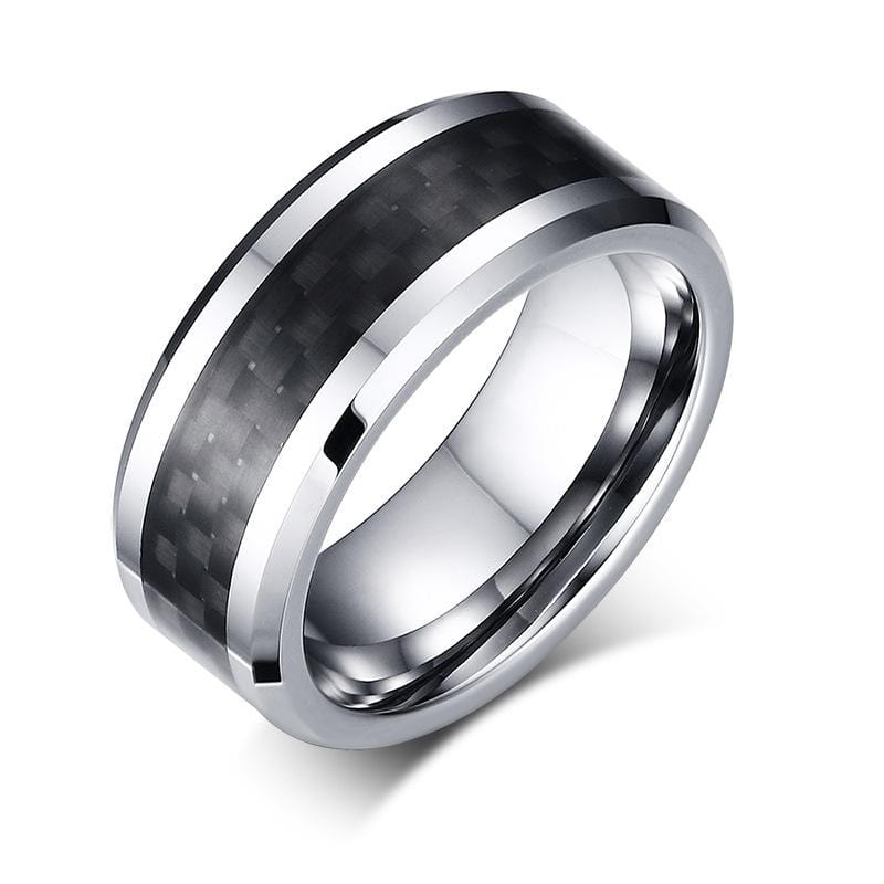 Men's 8.0mm Engravable Checkered Pattern Band in Tungsten and Black Carbon Fiber