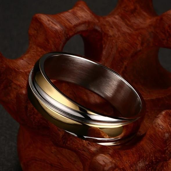Twisted Yellow Gold Plated Stainless Steel Ring for Him