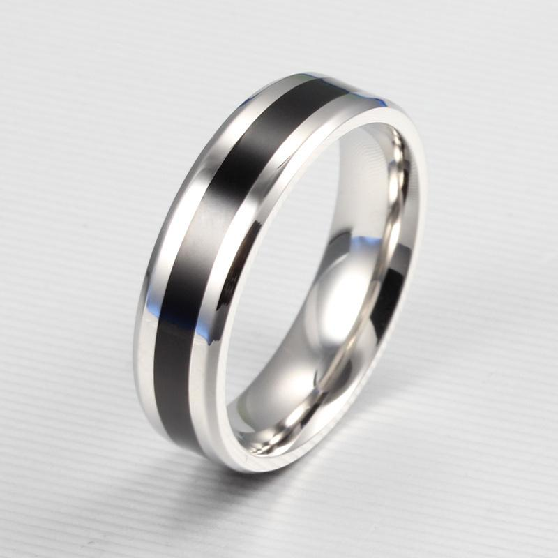 Black Silver Color Stainless Steel Couple Rings
