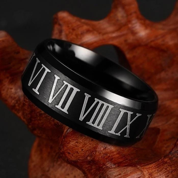 Roman Numeral Black Plated Stainless Ring for Him