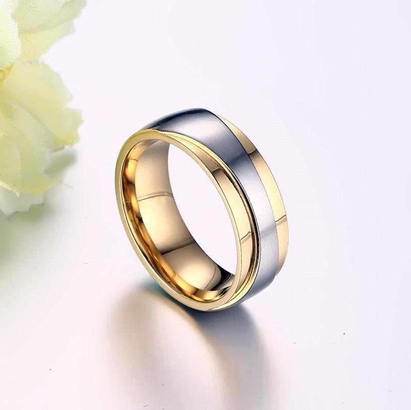 Round Cut Gemstones Yellow Gold and Silver Stainless Steel Promise Rings for Couples
