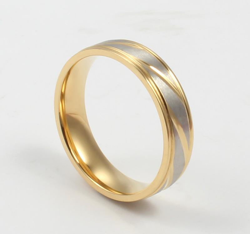 Artisan Yellow Gold Stainless Steel Couple Rings