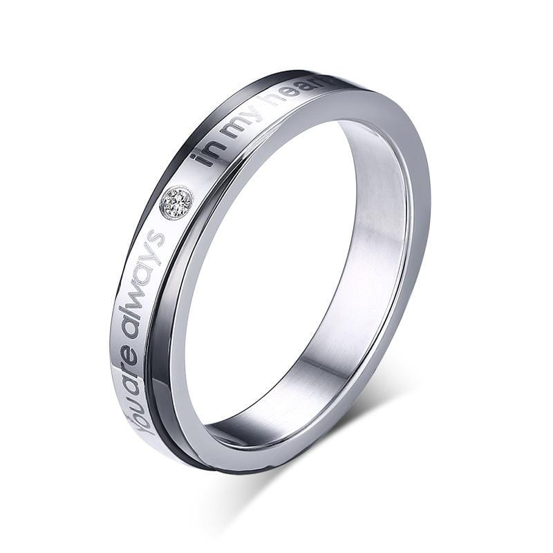You Are Always In My Heart Stainless Steel Promise Rings for Couples