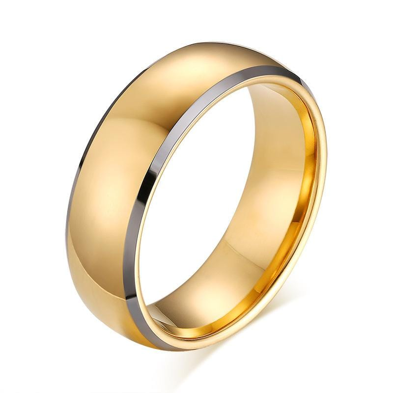 Yellow Gold with Silver Plated Tungsten Carbide Ring for Him