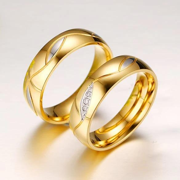 Geometry 18K Yellow Gold Plated Stainless Steel Couple Rings