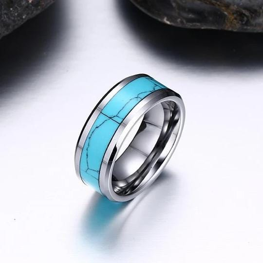 Men's 8.0mm Engravable Blue Turquoise Wedding Band in Tungsten Carbide