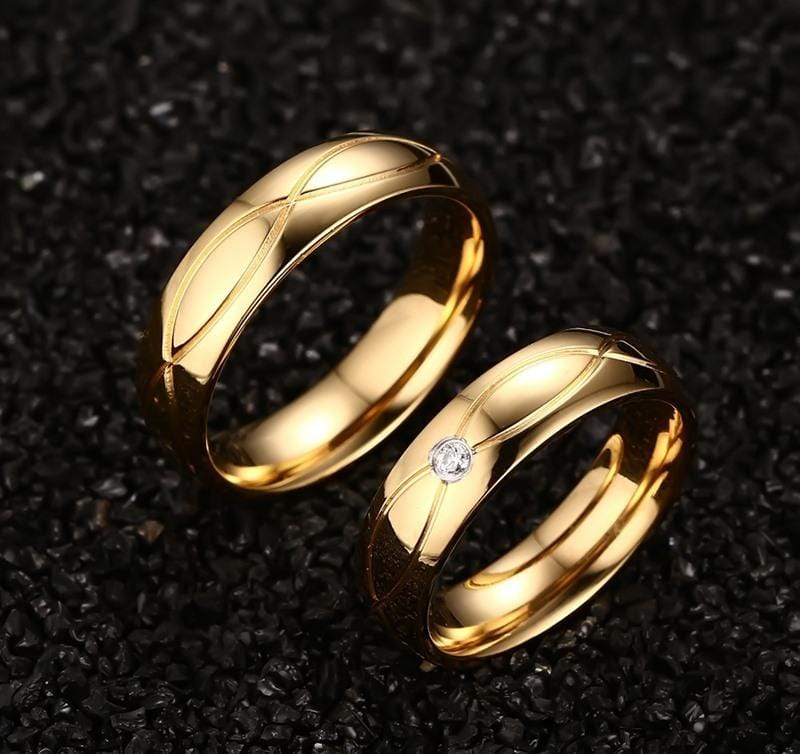 Gold Plated Stainless Steel Promise Rings for Couples