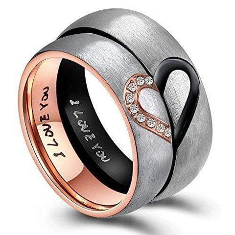 Couple's Her King His Queen Crown Titanium Promise Ring with Black IP