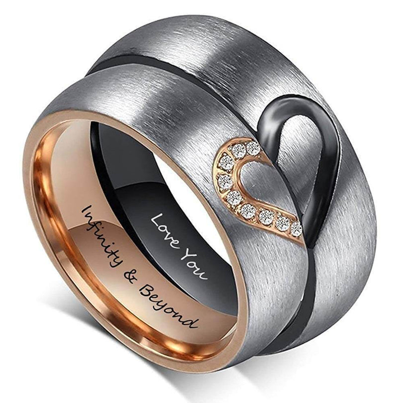 Matching Puzzle Heart Rose Gold and Black Stainless Steel Couple Rings
