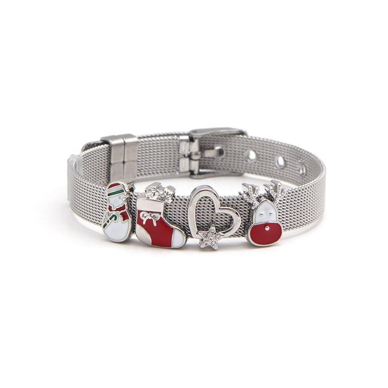 Xmas Mesh Charm Bracelet Set with Silver IP