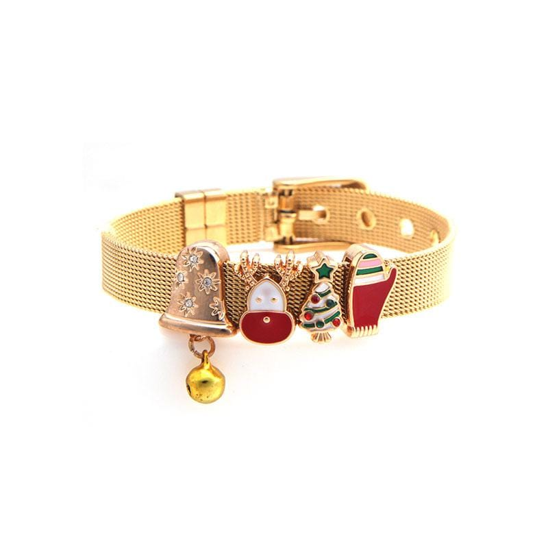 Stainless Steel Christmas Bracelet Set with Gold IP