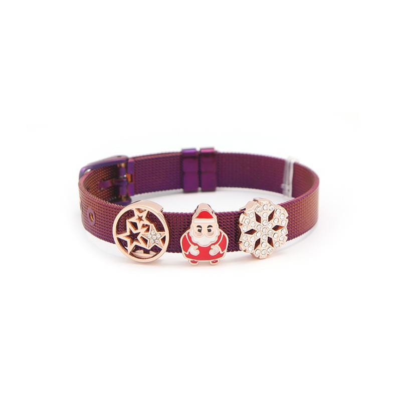 Xmas Mesh Bracelet Bangles with Rose IP