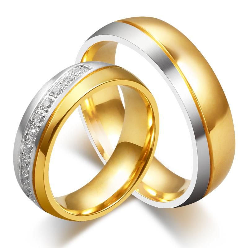 Couple's 6mm Tow-Tone Promise Rings in Stainless Steel with Yellow IP