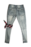 OFF-BLUE RIP DENIM JEANS-Urban Fit
