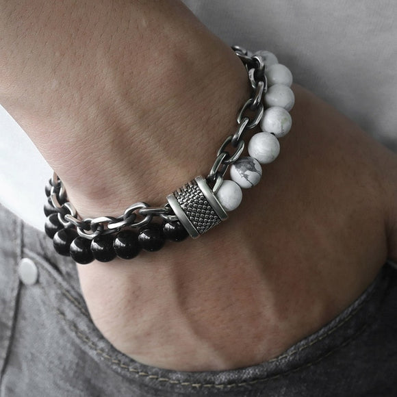 Stone Beaded Bracelet-Bracelet-White Black-Urban Fit