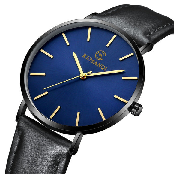 Classic Watch-Watch-Black/Blue Dial/Black rim-Urban Fit