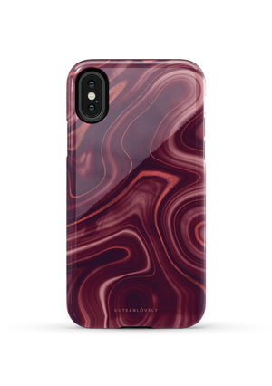 Dark Red Marble iPhone Case