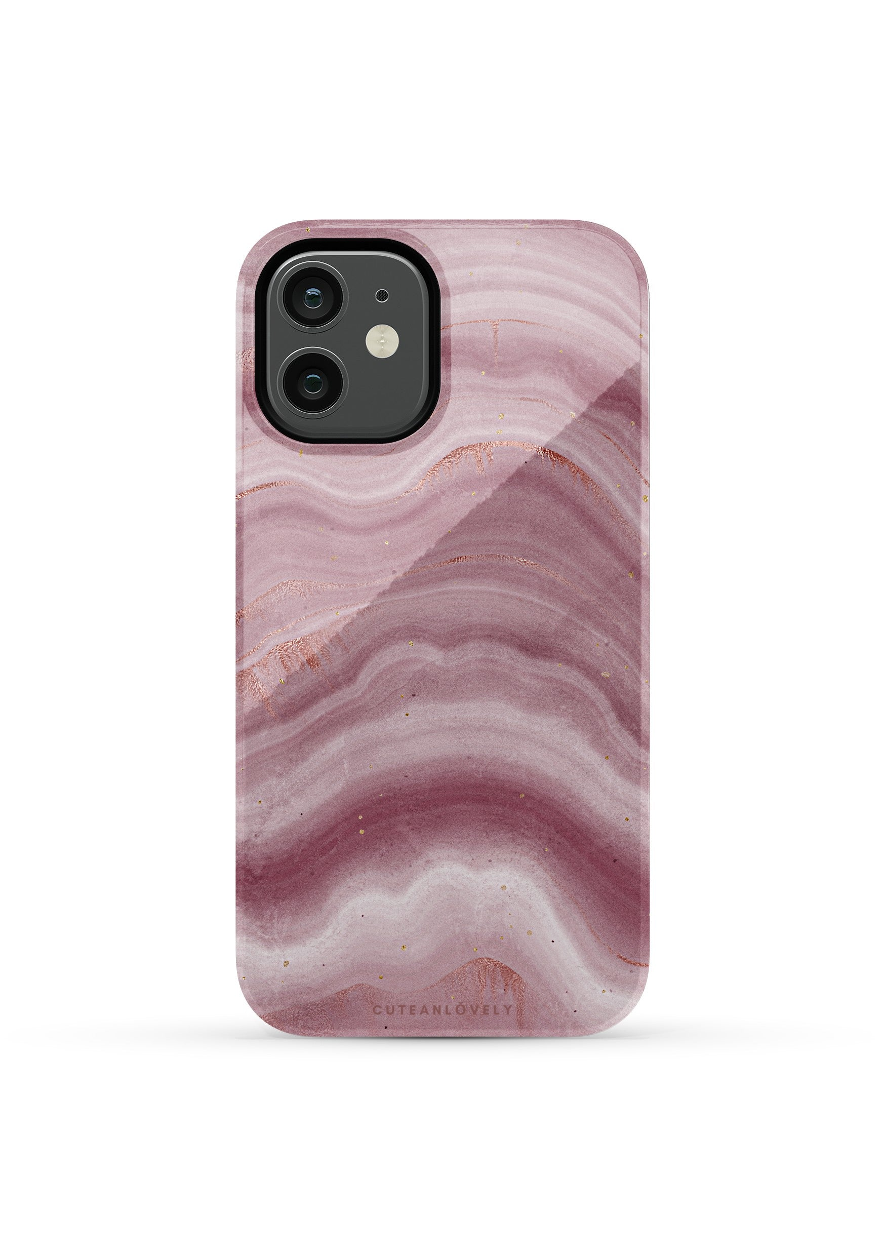 CUTEANLOVELY | Mauve Ripple Marble iPhone 12 Mini Case
