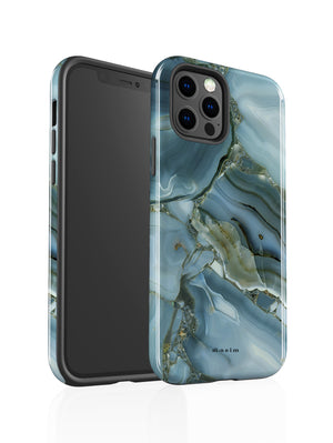 STAEIM | Blue Cracked Agate Marble iPhone 12 Pro Case