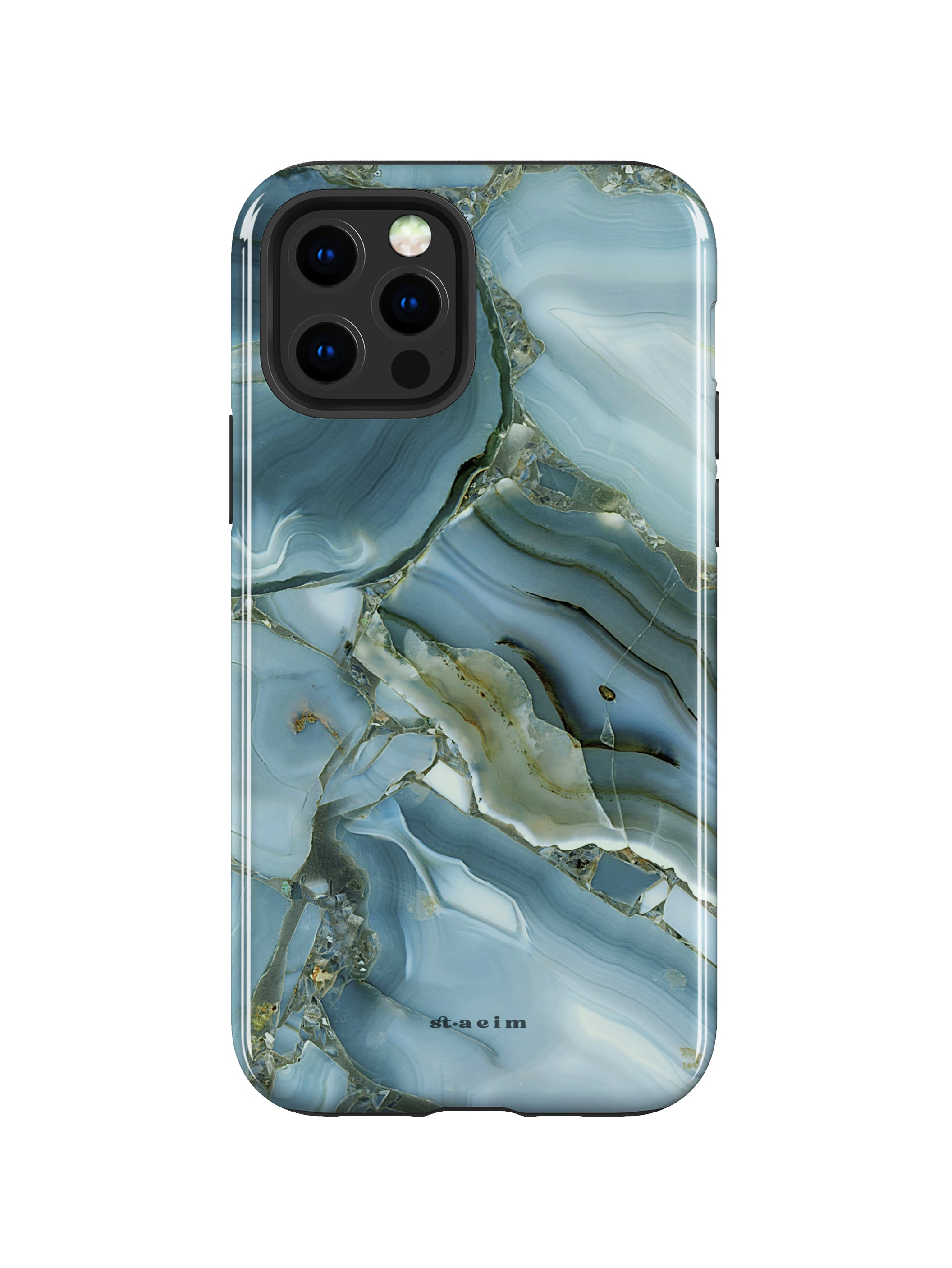 STAEIM | Blue Cracked Agate Marble iPhone 12 Pro Max Case