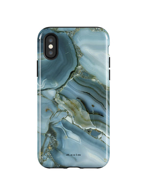 STAEIM | Blue Cracked Agate Marble iPhone XS Case