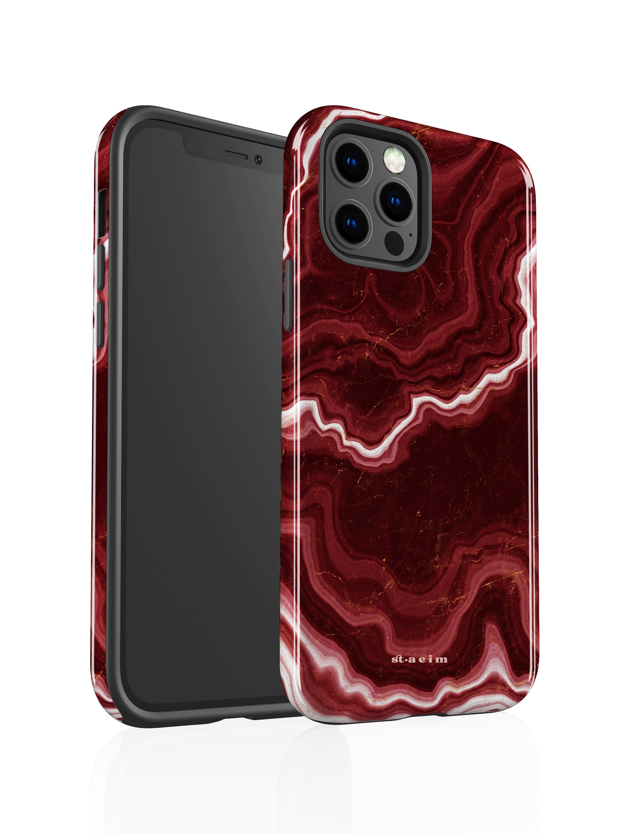 STAEIM | Sliced Red Agate Marble iPhone 12 Pro Case