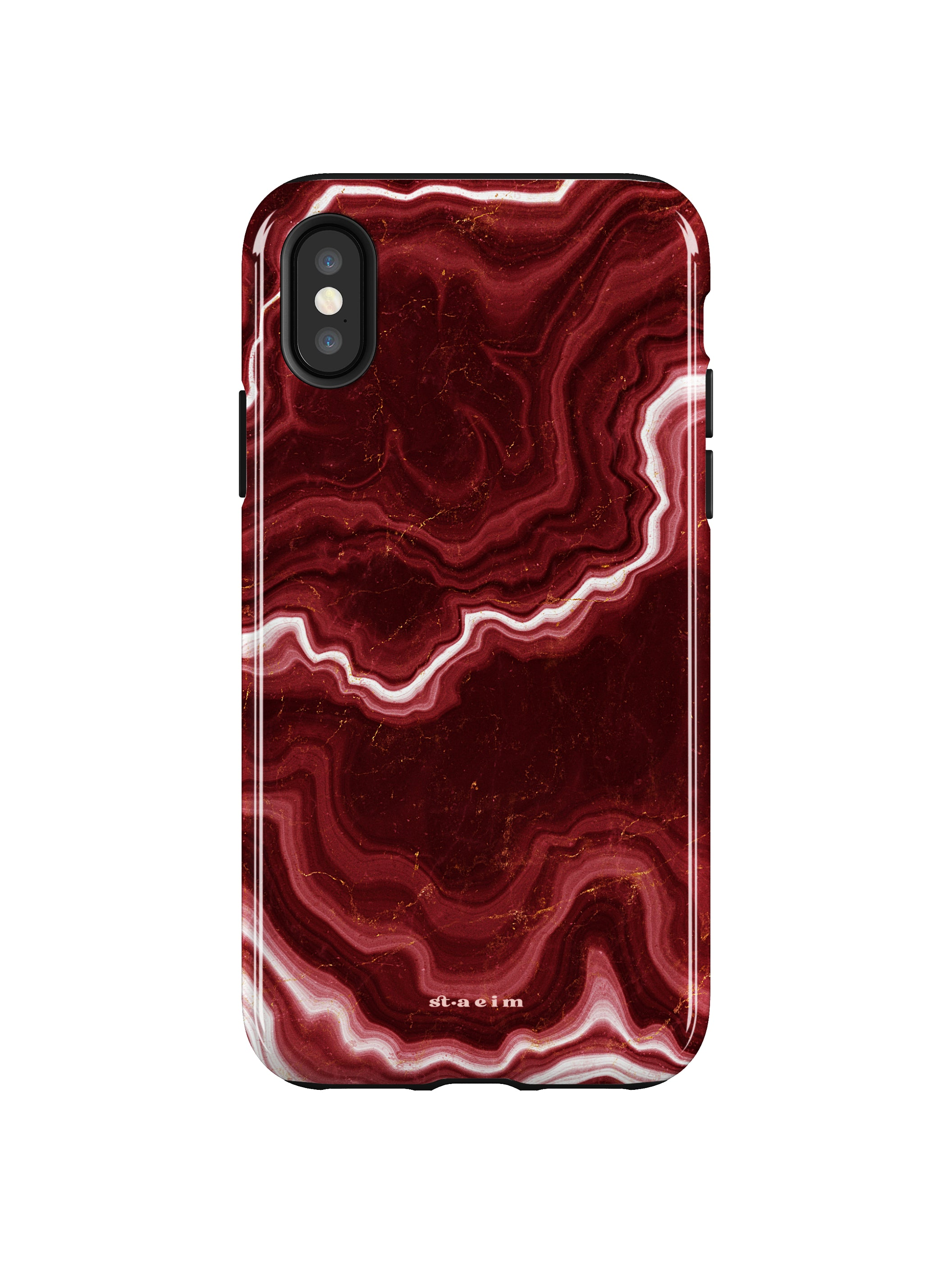 STAEIM | Sliced Red Agate Marble iPhone XS Case