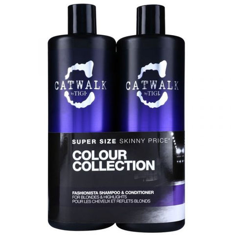 TIGI CATWALK FASIONISTA BLONDE VIOLET XL SHAMPOO KIT 750ml + CONDITIONER 750ml
