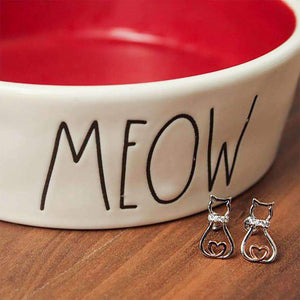 Glowing Heart Cat Earrings