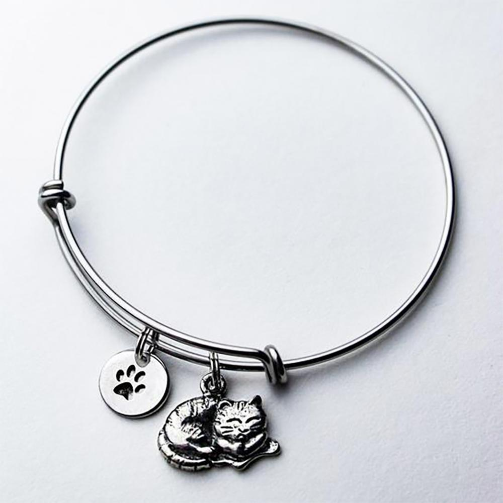 Resting Kitty Bangle Bracelet