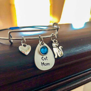 Sterling Silver Cat Mom Bangle Bracelet