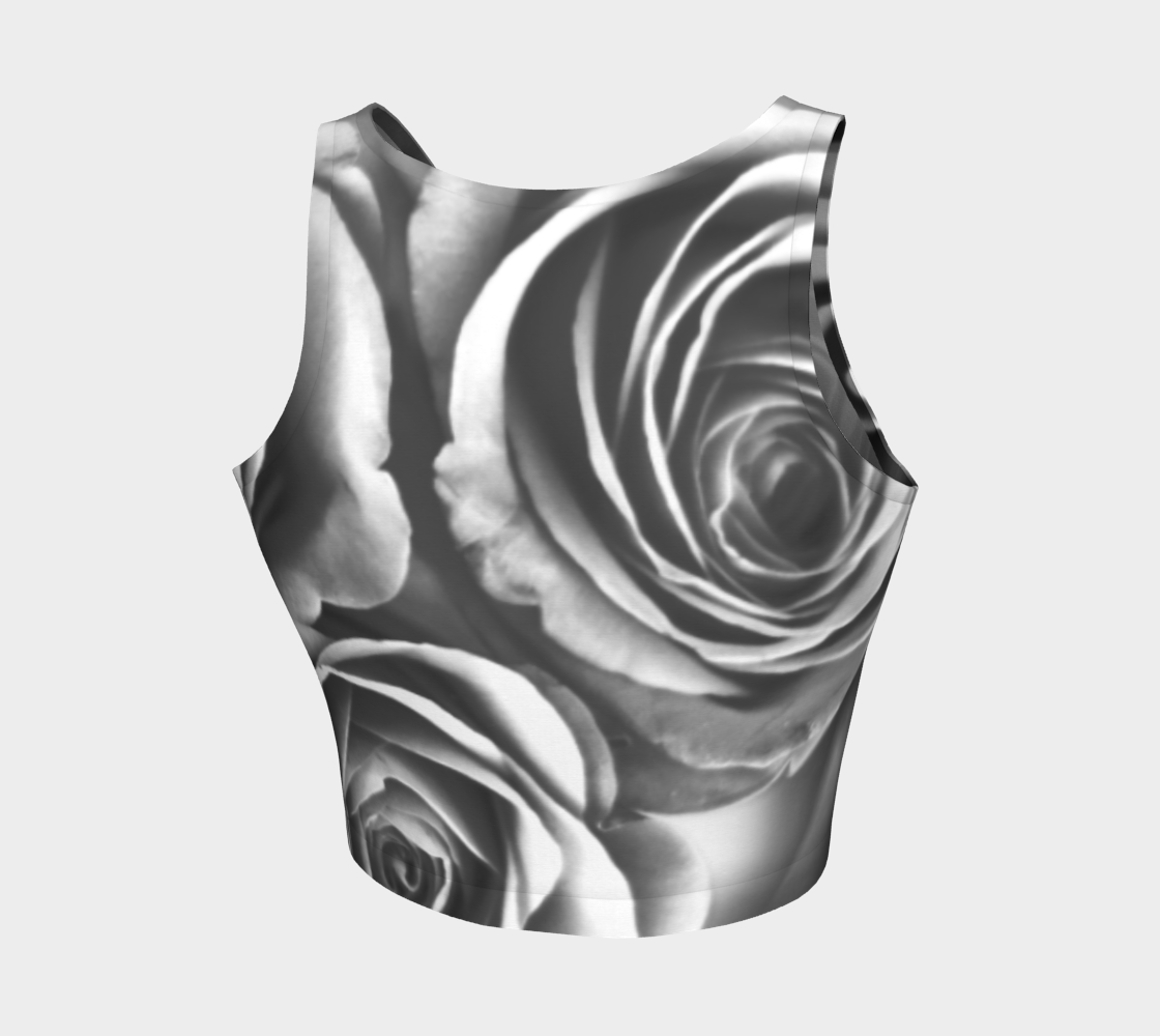 Zebra Rose Athletic Crop Top: Design 1