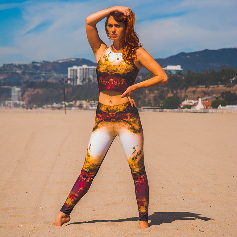 Sanguine Supernova Workout Outfit - Athletic Crop Top & Yoga Leggings - Wearable Art