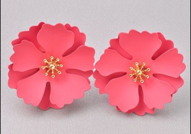 Coral Floral Stud Earrings