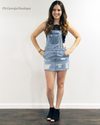In The Moment Distressed Denim Overall Skirt