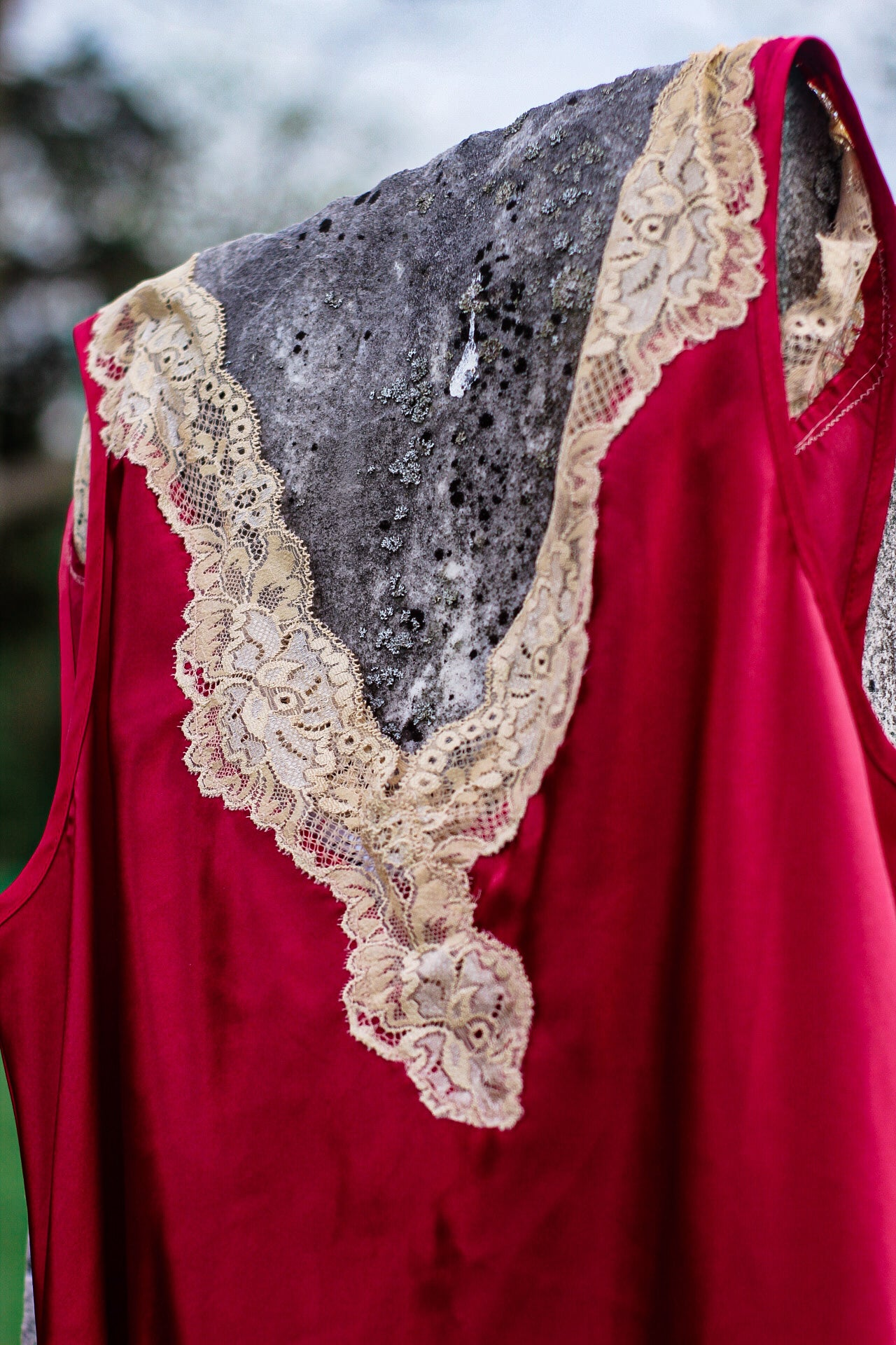 Red Slip with White Lace