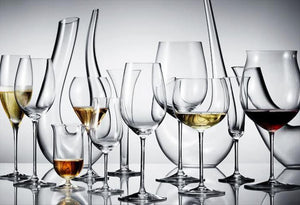 Riedel cognac riesling sommelier burgundy grand cru montrachet wine grappa single malt scotch glasses and Amadeo and Swan crystal decanters