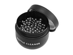 Riedel Stainless Steel Decanter Cleaning Balls in a small black storage container