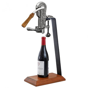 Vintage Replica Pewter Corkscrew on a Wood Stand