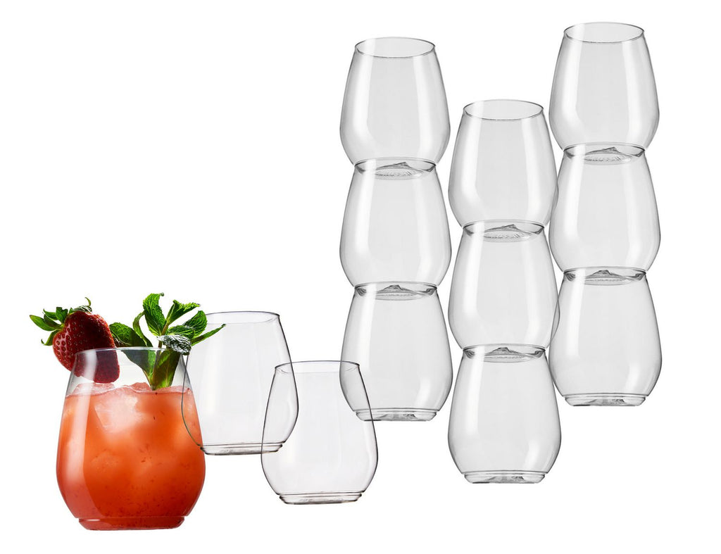 Stackable 18oz Plastic Tumblers Set of 12