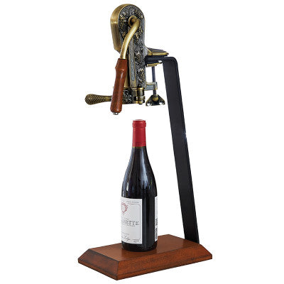 Vintage Replica Bronze Estate Corkscrew on a Wood Stand