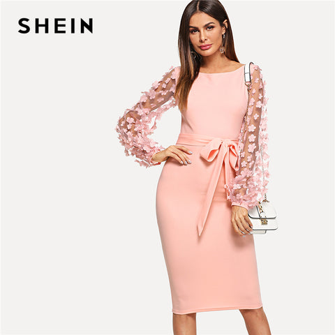 0d6aeb138ba SHEIN Pink Elegant Party Flower Applique Contrast Mesh Sleeve Form Fitting  Belted Solid Dress 2018 Autumn