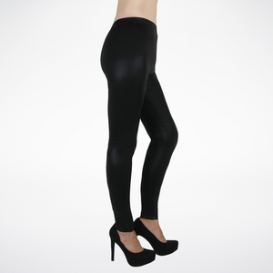 Pebbled Leatherette Feel Fleece Lined Leggings