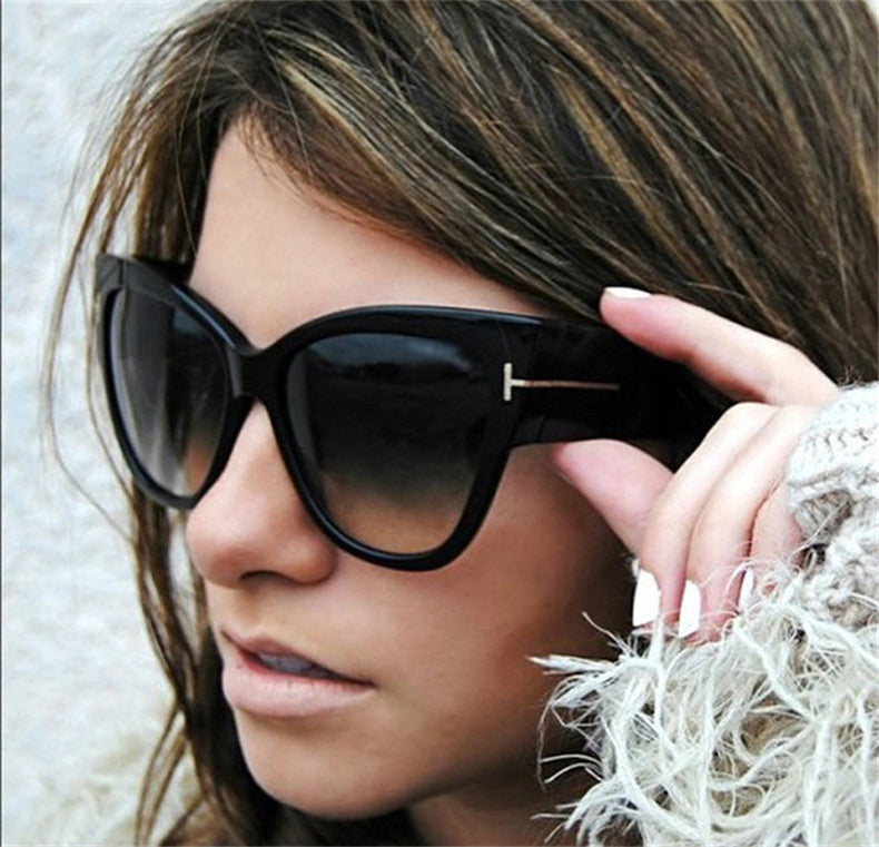 Brand Designer Fashion Women Oversized Cat Eye Sunglasses Ladies