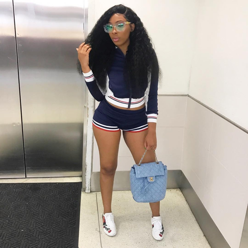 NEW Blue women sportswear Long Sleeve Two Piece Track Suits