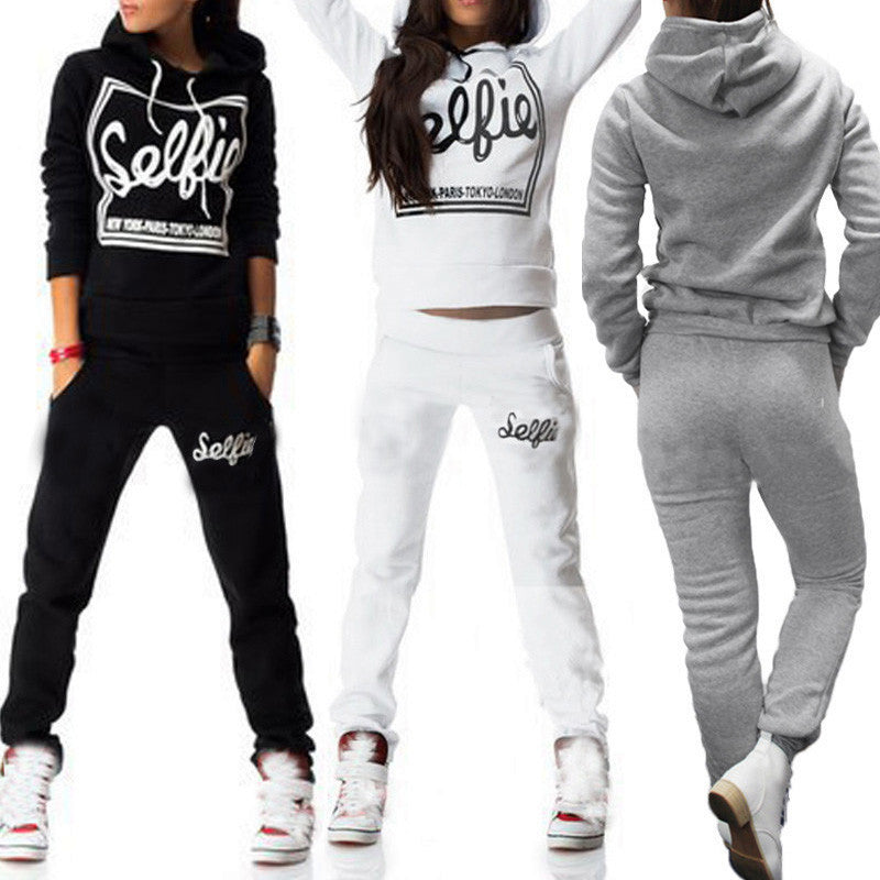 Women Hoodies Letter Print Sweaters With Long Pants Loose Pullover Sporting Style